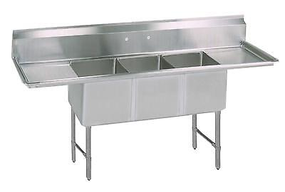 """BK Resources 75"""" (3) Compartment Sink S/s Leg 15"""" Left & Right Drainboard"""