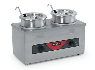 Nemco 6120A-CW-ICL 4QT Twin Cooker Warmer w/ Inset, Ladle, and Cover