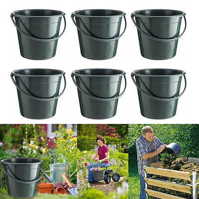 Garden Bucket 9.5L Sturdy Plastic Construction For Plant Waste Compost 6 Pack