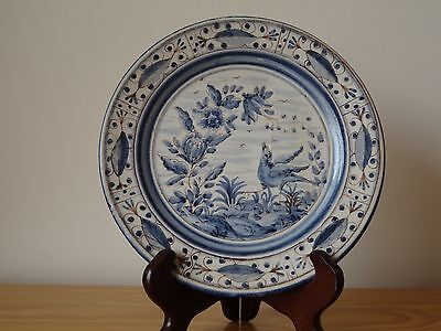 c.20th -Vintage Portugal Blue and White In Chinese Style Faience Majolica Plate