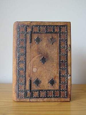 c.19th - Antique Persian Middle Eastern Wooden Wood Box In Shape of the book