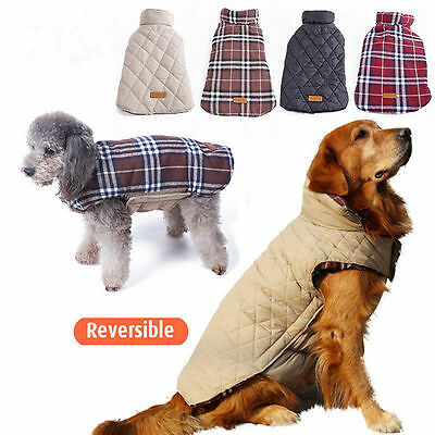 New Puppy Winter Warm Plaid Vest Jacket Coat Waterproof Pet Dog Clothes XS-XXXL
