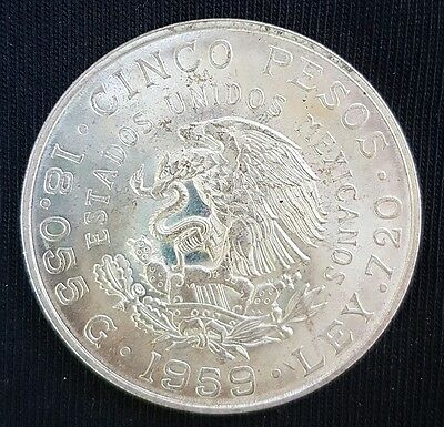 1959 Mexico  5 Peso Silver Coin- Uncirculated.....