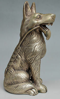Collectible Decorated Silver Plate Copper Carved Wolf Dog Statue