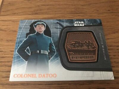 Star Wars The Force Awakens Series 2 Medallion Card Colonel Datoo #22