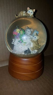 "San Francisco Music Box Kittens Glass Mechanical Snow Globe ""My Favorite Things"""