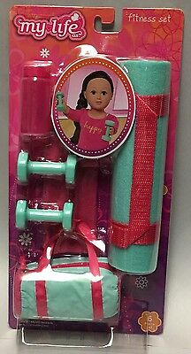"""MY LIFE AS FITNESS SET FOR 18"""" DOLL AMERICAN GIRL OUR GENERATION w/YOGA MAT BAG"""