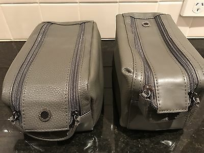 2 x EMIRATES Leather Bvlgari First Class Men's Airline Amenity Kits