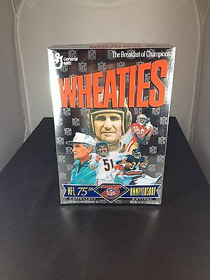 1994 NFL 75th. Anniversary Wheaties Full Cereal Box, Walter Payton, Butkus, Mint