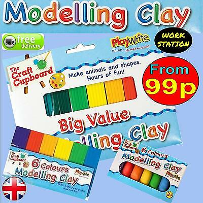 Childrens Kids Modelling Clay Multicoloured Plasticine Strip Large or Party Size