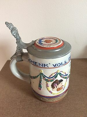 1/2L Stoneware Beer Stein - Enameled - Marriage Theme