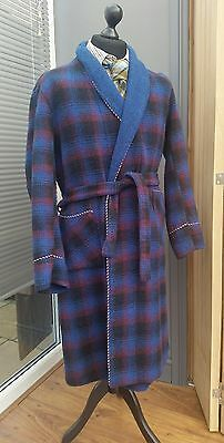Men's Vintage Wool Bkend BLUE CHECK Dressing Gown GREENWOODS Robe 38'