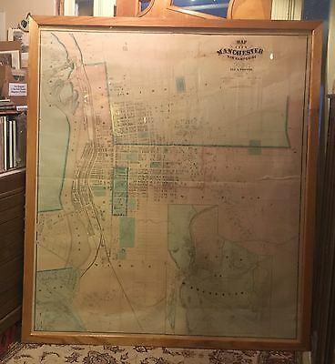 HUGE Manchester NH New Hampshire City Map 1872 VERY RARE Hand-Colored Weston