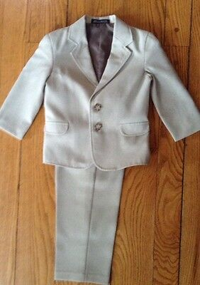 Nautica 2 Pc Toddler Boys Tan Suit. Jacket And Pants. Size 3T/3