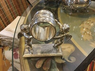 """Antique Meriden Silver Plate Figural Napkin Ring Two Cherubs 3.25"""" By 4"""""""