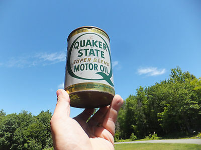 VINTAGE Quaker State Super Blend Motor Oil Quart Tin Can - Man Cave Rustic Look