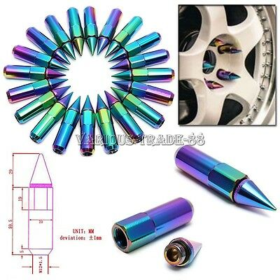 20pcs 60mm M12X1.5 Neo Chrome Aluminum Spiked Lug Nuts Wheel/Rim Extended Tuner