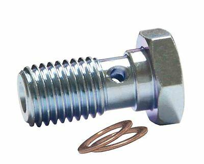 "M10 x 1.25mm Banjo Bolt, Zinc Plated AN-3 (3/16"") Teflon Braided Hose Connection"