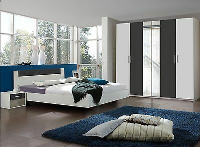 "Qmax ""Liana"" Range, German Made Bedroom Furniture.White & Anthracite Finish."
