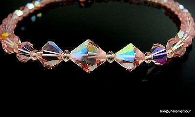 1950's Rosa Aurora Borealis Kristall Collier Halskette Kette,AB Crystal Necklace