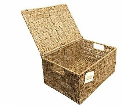 Woodluv Seagrass Storage Basket Box With Lid Xlarge