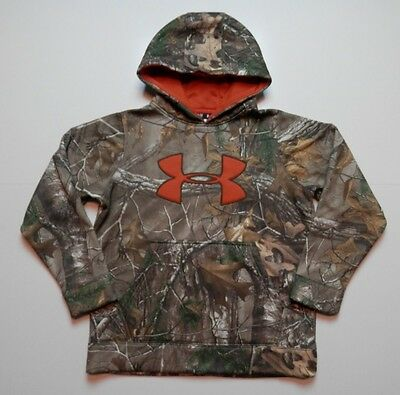 Under Armour RealTree Xtra Camo / Orange Hoodie Hooded Sweatshirt Youth Medium M