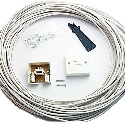 15M BT Telephone Master Socket/Box Line Extend Extension Cable Kit - 10m 15m -