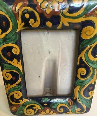 Lovely Mexican Pottery Ceramic Picture Frame Hand Painted Unique
