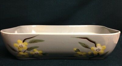 """WEIL WARE Serving Dish Malay Blossom Gray with Yellow Flowers California 7"""" x 9"""""""