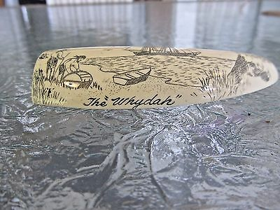 Vintage Faux Replica Whales Tooth Scrimshaw of the ship The Whydah