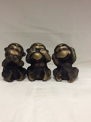 Vintage A Set Three Chinese Bronze Monkeys Statue