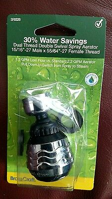 BrassCraft SF0320 Dual Thread Double Swivel Spray Faucet Aerator With 1.5 GPM