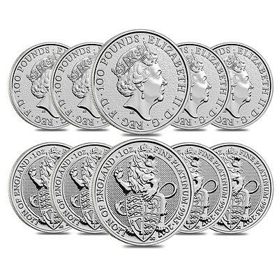 Roll of 10 - 2017 Great Britain 1 oz Platinum Queen's Beast (Lion) Coin .9995 Fi