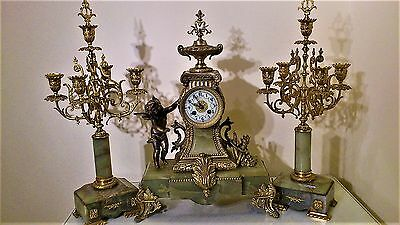 Antique French Green Onyx & Gilt Mantel Clock and Matching Candelabra Garniture