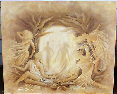 """Oil Painting On Canvas - """"Into The Light"""" - Signed Marissa Donet - Circa 2003"""