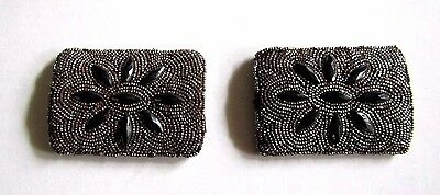 Vintage Antique Steel Cul Shoe Buckles Pair with Markasite(?) Cut Stones