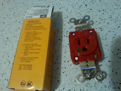 Receptacle, Red, HBL8210R, 15A, 125V