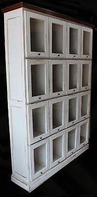 Antique 16 Drawer Pattern Cabinet - Apothecary Glass Front Doors, Painted White