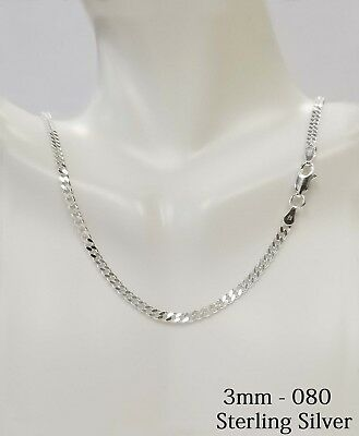 925 Sterling Silver CURB Solid Men's Chain Necklace, All Sizes Italy Made