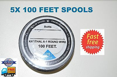 5x 100 ft - 28 Gauge AWG A1 Kanthal Round Wire 0.32mm Resistance A-1 28g GA 500'