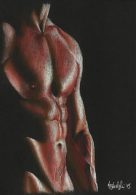 NUDE MALE ART STUDY GAY INTEREST PRINT A4  Of The Original Pastel Drawing