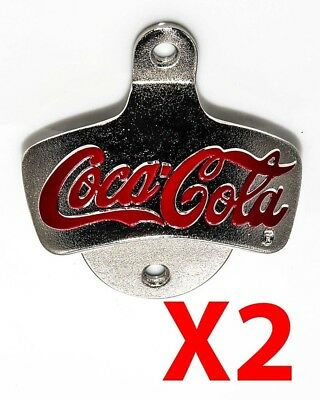 X2 Coca-Cola Coke Wall Mounted Bottle Opener Beer Bar Merchandise Man Cave Decor