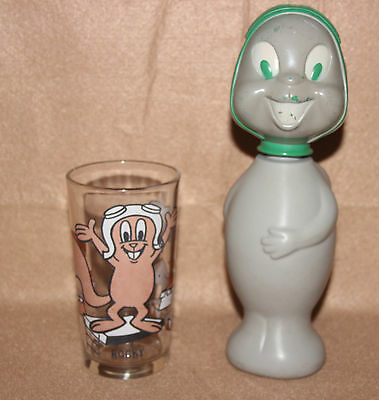 *2 Vintage Rocky Flying Squirrel Items Pepsi Promo Glass Tumbler Colgate Soaky