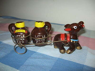 Vtg Donkey Cart Little Brown Jugs Salt & Pepper Japan Ruby Falls Lookout Mtn TN