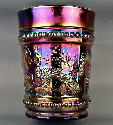 CARNIVAL GLASS - DUGAN PEACOCK at the FOUNTAIN Blue Tumbler 3528