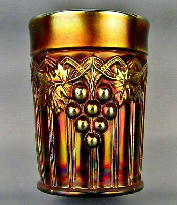 CARNIVAL GLASS - NORTHWOOD GRAPE & GOTHIC ARCHES Blue Tumbler 3529