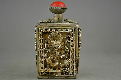 china collectible old tibet silver carve dragon decorate snuff bottle