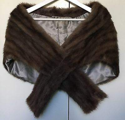 Vintage 1960s 1970s Grey Brown Possibly Muskrat Fur Stole Selling 4 Charity
