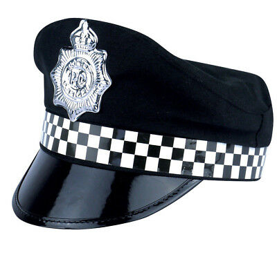 Policeman Cap Peak Police Cop Hat For Adult Fancy Dress Costume Accessory