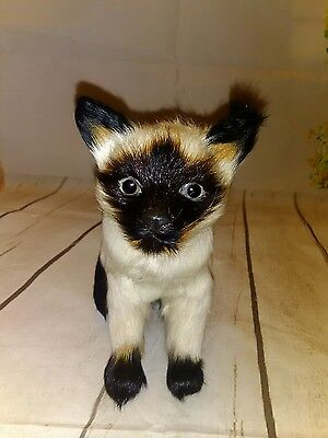 Realistic Lifelike Cat Figure FUR small​ mini 6""